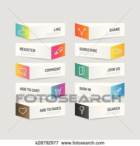 clip art of modern banner button with social icon design options
