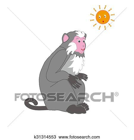 Dibujo - mono, niña, con, sol k31314553 - Buscar Clip Art ...