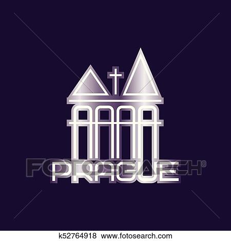 Clip Art Of Prague Vector Symbol With Church Building Or Towers