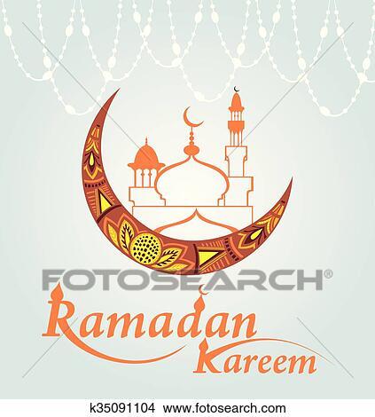 Happy Ramadan Kareem, Greeting Background Vector Illustration Clipart Images