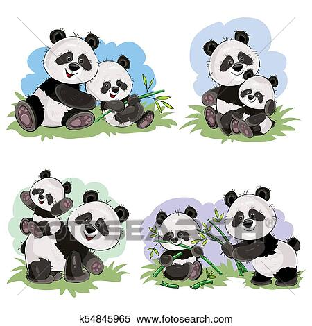 clipart of vector cartoon set of cute panda bear characters