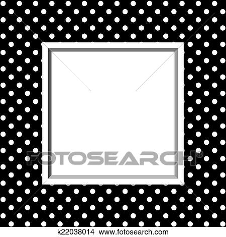 Stock Photo of Black and White Polka Dot Background with Frame ...