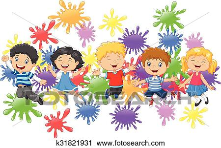 Clipart - caricatura, poco, niños, saltar k31821931 - Buscar Clip ...