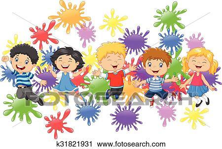 Parco bambini cartone animato pieno colorare parco