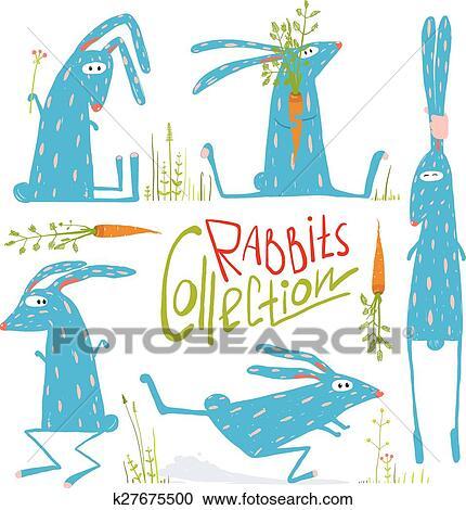 Clipart - colorear intensamente, diversión, caricatura, conejos ...