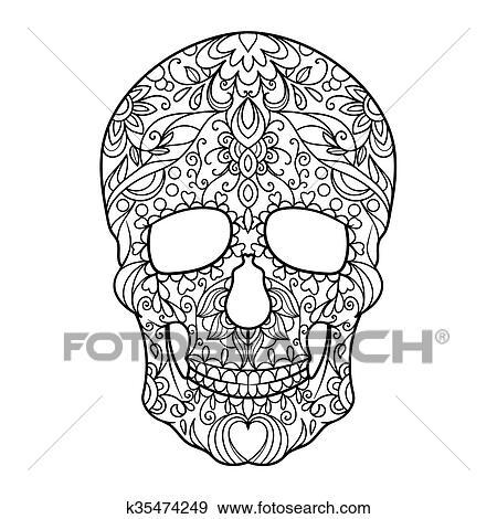 Clip Art - cráneo, libro colorear, para, adultos, vector k35474249 ...
