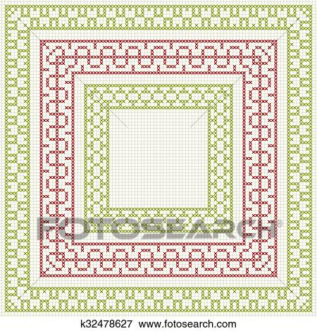 Clip Art Of Cross Stitch Embroidery Set Of Borders K32478627
