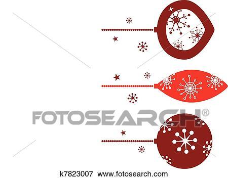 Clip Art Of Elegant Christmas Balls Decoration In Retro Style