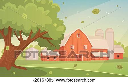 Fattoria cartone animato paesaggio clipart k fotosearch