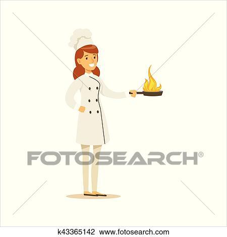 Clipart Femme Professionnel Cuisine Chef Cuistot