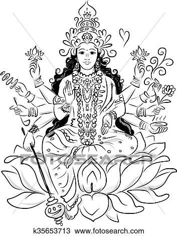 Clipart Of Indian Goddess Shakti Sketch For Your Design K35653713