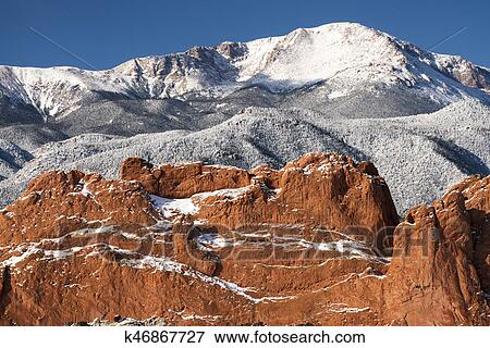 Pike S Peak From The Garden Of The Gods Stock Photo