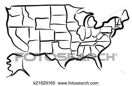 clipart of usa sketch map k21629165 search clip art illustration rh fotosearch com us map clip art free us map clip art editable