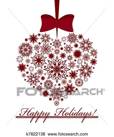 Christmas Heart Vector.Vector Illustration Of A Christmas Heart Made With Snowflakes Isolated On White Background Clip Art