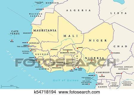 Clipart Of West Africa Region Political Map K54718194 Search Clip