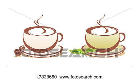 コーヒー そして お茶 ベクトル イラスト クリップアート切り張り