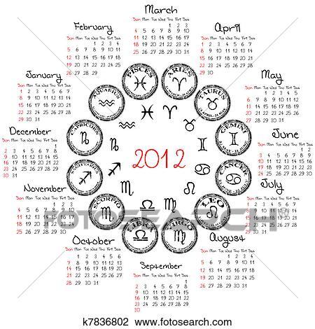 Calendario Zodiacal.2012 Calendario Con Zodiacal Signs J Dibujo