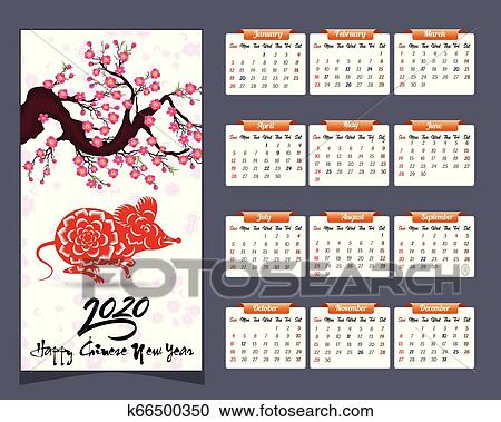 Lunar New Year 2020 Calendar 2020 Calendar for new year of mouse Clipart | k66500350 | Fotosearch