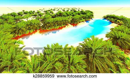African Oasis Stock Illustration K28859959 Fotosearch
