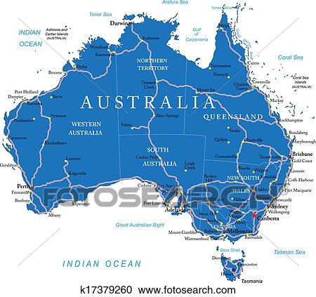 Road Map Australia.Australia Road Map Clipart K17379260 Fotosearch