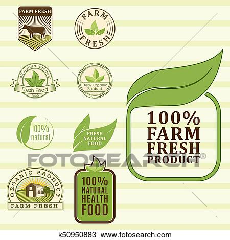 Bio Farm Organic Eco Healthy Food Templates And Vintage Vegan Green Color For Restaurant Menu Or Package Badge Vector Illustration Clipart K50950883 Fotosearch