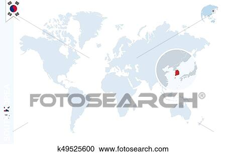 Blue world map with magnifying on South Korea. Clipart ...