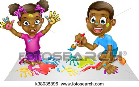 Clip Art Of Cartoon Kids Painting K38035896 Search Clipart