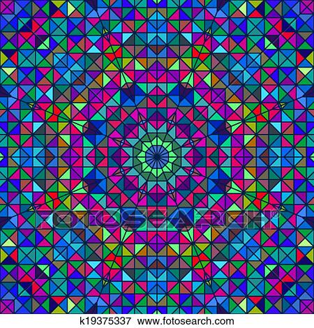 Color Abstract Geometric Retro Pattern Stained Glass
