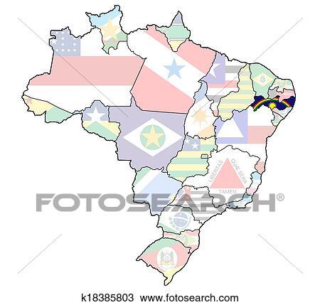 Estado Pernambuco Ligado Mapa De Brasil Desenho K18385803