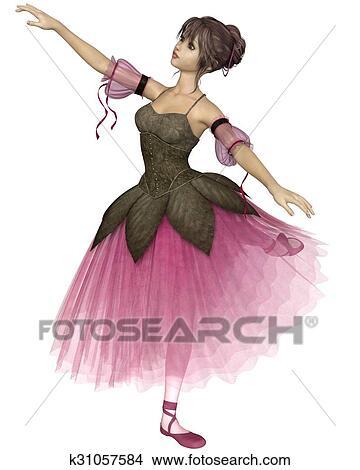 Dessins Fleur Rose Ballerine Dans Arabesque K31057584
