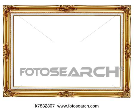 Picture of Gilded frame for painting on white background k7832807 ...