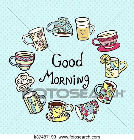 Guten Morgen Karte Mit Gekritzel Tee Tassen Auf Blau
