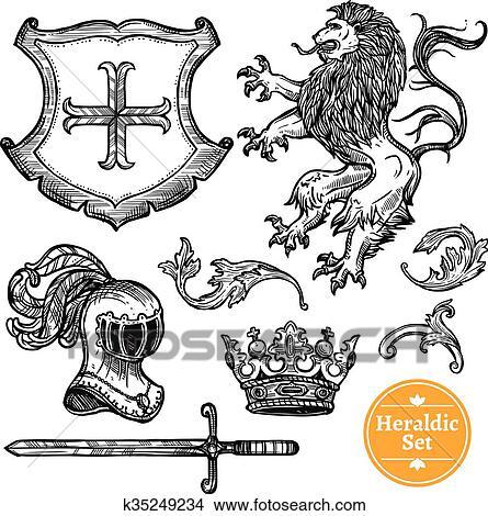Clipart Of Heraldic Symbols Set Black Doodle Sketch K35249234