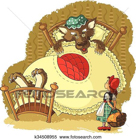 Little Red Riding Hood and wolf Clipart | k34508955 ...
