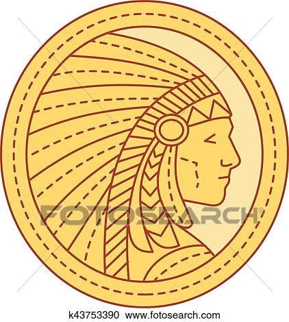 Clipart Of Native American Indian Chief Warrior Mono Line K43753390