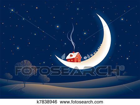 Clipart Noel Eclaire Par La Lune Nuit K7838946 Recherchez Des