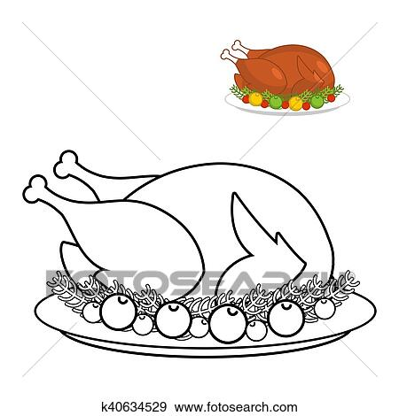 - Roast Turkey For Thanksgiving Coloring Book. Fowl On Plate In Linear Style.  Fry Wildfowl With Apples And Cranberries. Traditional Festive Meal. Symbol  Historic National Holiday Clip Art K40634529 Fotosearch
