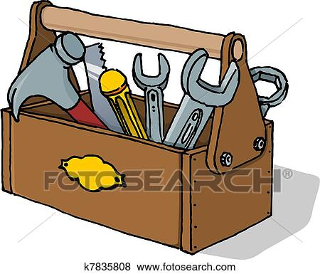 clip art of toolbox vector illustration k7835808 search clipart rh fotosearch com open toolbox clipart tool box clip art free