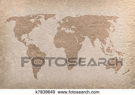 Stock photograph of vintage world map paper craft k7839849 search stock photograph vintage world map paper craft fotosearch search stock photography posters gumiabroncs Choice Image