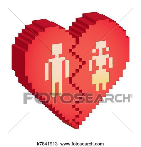Coeur Cassé 3d Pixels Illustration Dessin