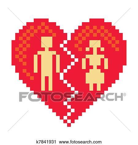 Coeur Cassé Dans Pixels Illustration Clipart