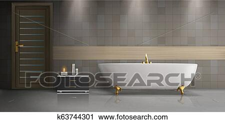 Cuarto de baño, diseño de interiores, realista, vector, mockup Clipart