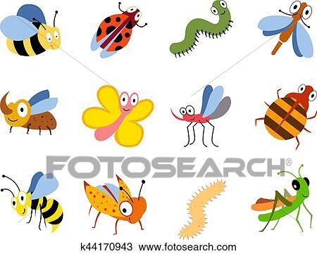 Clipart - divertido, insectos, lindo, caricatura, bichos, vector ...