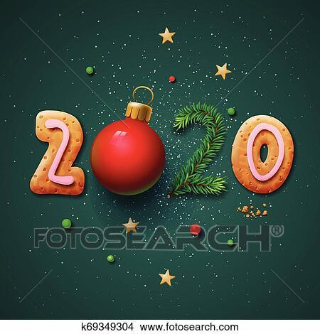 Feliz Natal E Feliz Ano Novo 2020 Cartão Cumprimento Vetorial Illustration Clipart