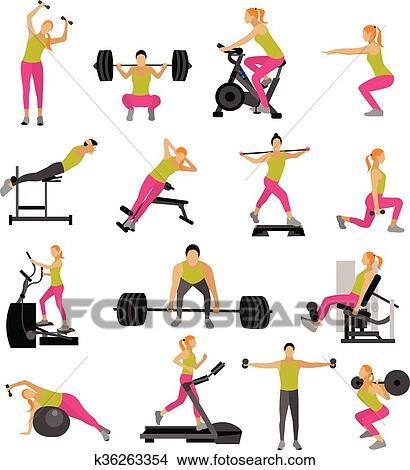 Fitness Et Seance Entrainement Exercice Dans Gym Vecteur Ensemble De Icones Plat Style Isole Blanc Fond Clipart K36263354 Fotosearch