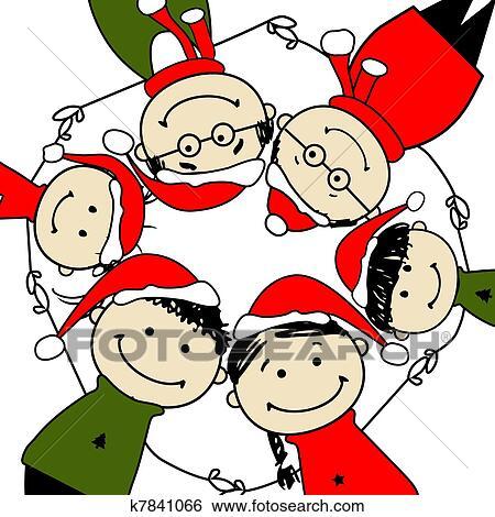 Clip Art - fröhlich, christmas!, glückliche familie, abbildung, für ...
