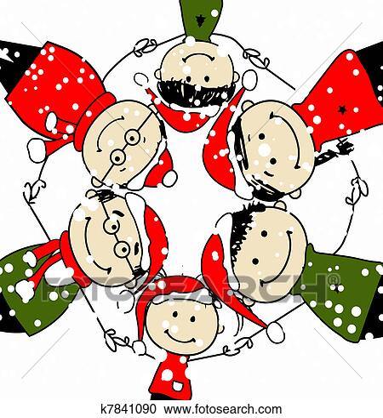 Clipart - fröhlich, christmas!, glückliche familie, abbildung, für ...