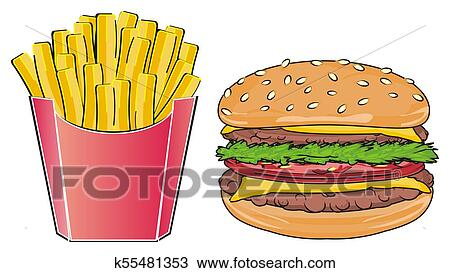 French Fries With Hamburger Drawing K55481353 Fotosearch