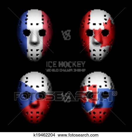 Clipart Of Goalie Masks With Flags K19462204 Search Clip Art