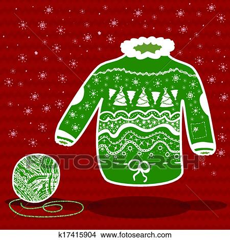 Christmas Sweater Clipart.Green Knitted Christmas Sweater Clipart